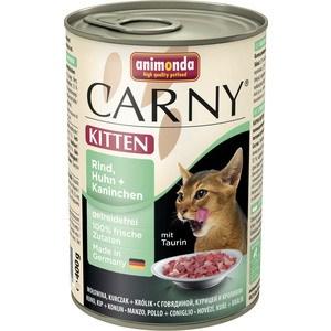 Консервы Animonda CARNY Kitten с говядиной, курицей и кроликом для котят 400г (83713) консервы для котят animonda carny с говядиной и сердцем индейки 200 г