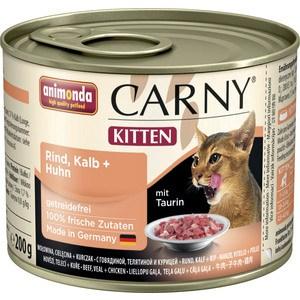 Консервы Animonda CARNY Kitten с говядиной, телятиной и курицей для котят 200г (83699) консервы для котят animonda carny с говядиной и сердцем индейки 200 г