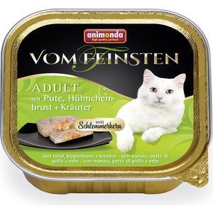 Консервы Animonda Vom Feinsten Adult меню для гурманов с индейкой, куриной грудкой и травами для привередливых кошек 100г (83265) консервы animonda vom feinsten for castrated cats с индейкой и форелью для стерилизованных кошек 100г 83447