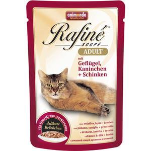 Паучи Animonda Rafine Soup Adult с мяса домашней птицей, кроликом и ветчиной для кошек 100г (83655) фото