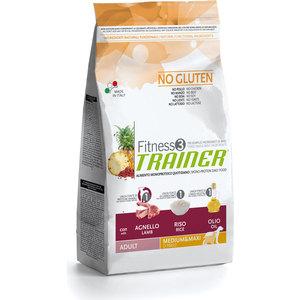 Сухой корм Trainer Fitness3 No Gluten Medium/Maxi Adult Lamb&Rice без глютена с ягненком и рисом для собак средних и крупных пород 12,5кг