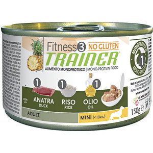 Консервы Trainer Fitness3 No Gluten Mini Adult Duck&Rice без глютена с уткой и рисом для собак мелких пород 150г