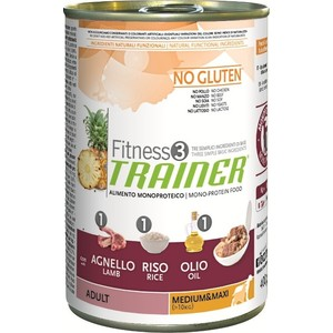 Консервы Trainer Fitness3 No Gluten Medium/Maxi Adult Lamb&Rice без глютена с ягненком и рисом для собак средних и крупных пород 400г