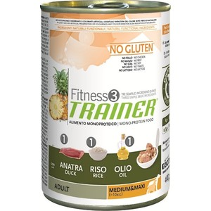 Консервы Trainer Fitness3 No Gluten Medium/Maxi Adult Duck&Rice без глютена с уткой и рисом для собак средних и крупных пород 400г