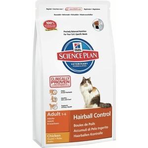 Сухой корм Hills Science Plan Hairball Control Adult with Chicken с курицей вывод шерсти из желудка для кошек 1,5кг (7608)