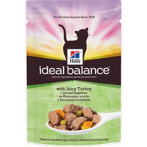 Паучи Hills Ideal Balance with Juicy Turkey с сочной индейкой и овощами для кошек 82г (10024)