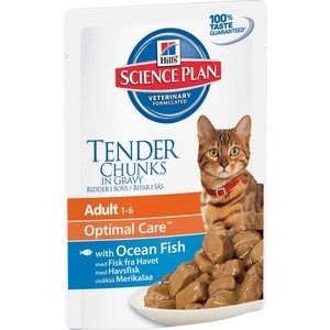 Паучи Hill's Science Plan Optimal Care Adult Ocean Fish Tender Chuks in Gravy с рыбой кусочки в подливке для кошек 85г (2105)