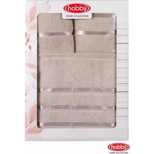 Набор из 3 полотенец Hobby home collection Dolce 30x50/50x90/70x140 коричневое (1501001208) цены