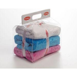 цена Набор из 3 полотенец Hobby home collection Dora 50x90 3 штуки белый, розовый, бирюзовый (1501000442) онлайн в 2017 году