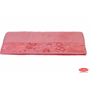 цена Полотенце Hobby home collection Dora 70x140 см розовый (1501000451) онлайн в 2017 году