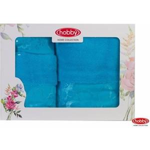 цена Набор из 3 полотенец Hobby home collection Dora 30x50/50x90/70x140 бирюзовый (1501001215) онлайн в 2017 году