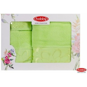 цена Набор из 3 полотенец Hobby home collection Dora 30x50/50x90/70x140 зеленый (1501001217) онлайн в 2017 году