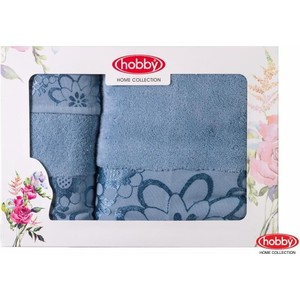 Набор из 3 полотенец Hobby home collection Dora 30x50/50x90/70x140 светло-голубой (1501001219)