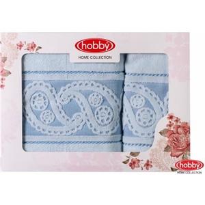 цена Набор из 2 полотенец Hobby home collection Hurrem 50x90/70x140 голубой (1501001222) онлайн в 2017 году