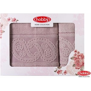 цена Набор из 2 полотенец Hobby home collection Hurrem 50x90/70x140 розовый (1501001227) онлайн в 2017 году