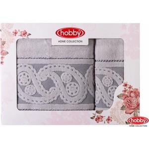 Набор из 2 полотенец Hobby home collection Hurrem 50x90/70x140 серый (1501001229) полотенце ecotex джаз 50x90 серый jt 01 m серый charcoal