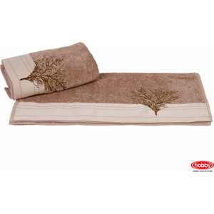 цена Полотенце Hobby home collection Infinity 70x140 см светло-коричневый (1501001175) онлайн в 2017 году