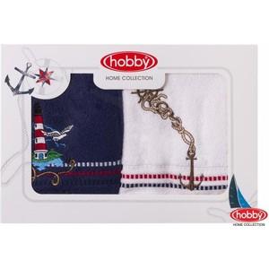 Набор из 2 полотенец Hobby home collection Marina 50x90 2 штуки сине-белый (1501001062) цены