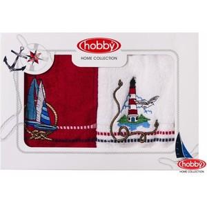 цена Набор из 2 полотенец Hobby home collection Marina 50x90 2 штуки бело-красный (1501001060) онлайн в 2017 году