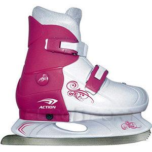 ледовые коньки и лыжи Коньки ледовые раздвижные Action PW-219-1 р. 37-40 (розовый/белый)
