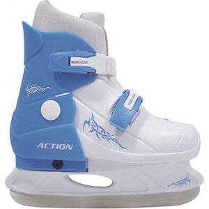 цены Коньки ледовые раздвижные Action PW-219-2 р. 29-32 (голубой/белый)