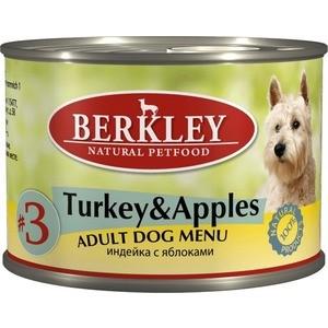 Консервы Berkley Adult Dog Menu Turkey & Apples № 3 с индейкой и яблоком для взрослых собак 200г (75001)