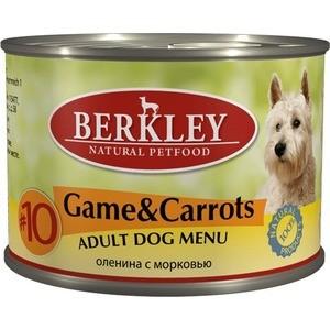 Консервы Berkley Adult Dog Menu Game & Carrots № 10 с дичью и морковью для взрослых собак 200г (75006)