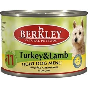 Консервы Berkley Adult Dog Menu Light № 11 легкая формула с индейкой, ягненком и яблоком для взрослых собак 200г (75010)