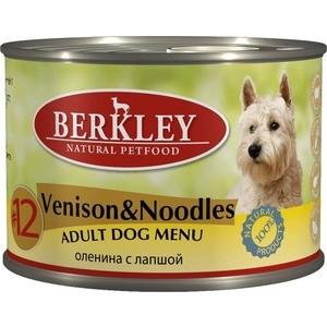 Консервы Berkley Adult Dog Menu Venison & Noodles № 12 с олениной и лапшой для взрослых собак 200г (75018)