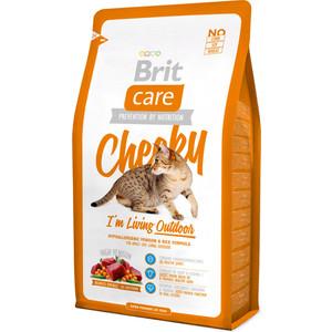 Сухой корм Brit Care Cat Cheeky Outdoor гипоаллергенный с олениной и рисом для активных кошек гуляющих на улице 2кг (132613)