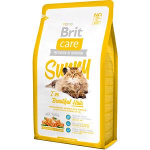 Сухой корм Brit Care Cat Sunny Beautiful Hair гипоаллергенный с лососем и рисом для длинношерстных кошек 2кг (132619)