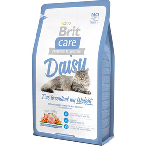 Сухой корм Brit Care Cat Daisy гипоаллергенный с индейкой и рисом для кошек избыточным весом 7кг (132621)