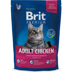 Сухой корм Brit Premium Cat Adult Chicken с мясом курицы и куриной печенью для взрослых кошек 1,5кг (513086)