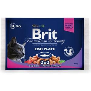 Паучи Brit Premium Cat Fish Plate рыбная тарелка с треской, лососем и форелью для кошек набор 4шт*100г (100311)