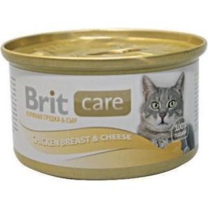 Консервы Brit Care Cat Chicken Breast & Cheese с куриной грудкой и сыром для кошек 80г (100059) brit brit care лакомство для кошек truffles cheese подушечки с сыром 50 г