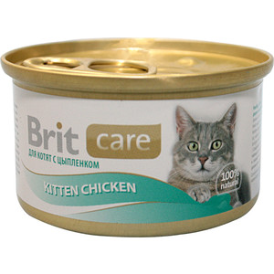 Консервы Brit Care Cat Kitten Chicken с цыплёнком для котят 80г (100061)