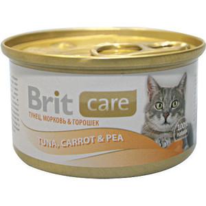 Консервы Brit Care Cat Tuna,Carrot & Pea с тунцом,морковью и горошком для кошек 80г (100062) фото
