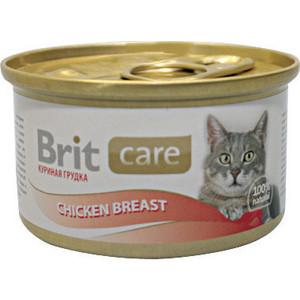 Консервы Brit Care Cat Chicken Breast с куриной грудкой для кошек 80г (100064) brit brit care лакомство для кошек truffles cheese подушечки с сыром 50 г