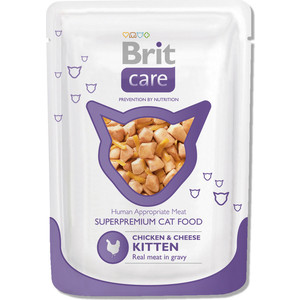 Паучи Brit Care Cat Kitten Chicken & Cheese c курицей и сыром для котят 80г (100122)