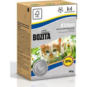 Консервы BOZITA Kitten Chunks in Jelly with Chicken кусочки в желе с курицей для котят и беременных кошек 190г (2160) корм консервированный для кошек bozita chunks in jelly with salmon