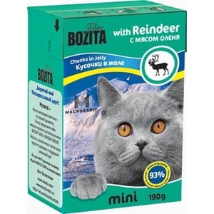 Консервы BOZITA MINI Chunks in Jelly with Reindeer кусочки в желе с мясом оленя для кошек 190г (2102) фото