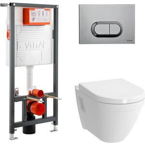 Комплект Vitra S50 безободковый унитаз с сиденьем микролифт + инсталляция кнопка хром (9003B003-7201)