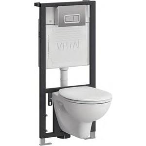 Комплект Vitra Arkitekt унитаз с сиденьем + инсталляция кнопка хром (9005B003-7211)