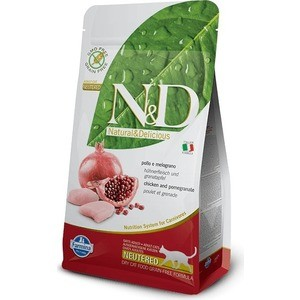 Сухой корм Farmina N&D Neutered Cat GF Chicken & Pomegranate беззерновой с курицей и гранатом для стерилизованных кошек 1,5г (30467)