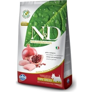 Сухой корм Farmina N&D Adult Dog Mini GF Chicken & Pomegranate беззерновой с курицей и гранатом для собак мелких пород 2,5кг (21151)