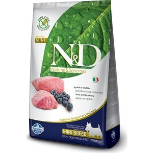 Сухой корм Farmina N&D Adult Dog Mini GF Lamb & Blueberry беззерновой с ягненком и черникой для собак мелких пород 800г (21809)