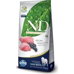Сухой корм Farmina N&D Adult Dog Maxi GF Lamb & Blueberry беззерновой с ягненком и черникой для собак крупных пород 12кг (21878) витамин с шипучий с черникой friggs 20 шт