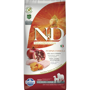 Сухой корм Farmina N&D Dog Medium&Maxi GF Pumpkin Chicken&Pomegranate беззерновой с курицей гранатом тыквой для собак средних и крупных пород 12кг