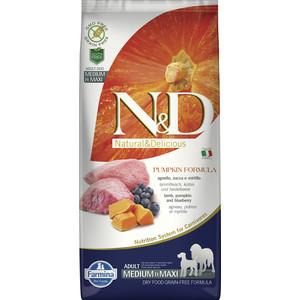 Сухой корм Farmina N&D Dog Medium&Maxi GF Pumpkin Lamb & Blueberry беззерновой с ягненком черникой тыквой для собак средних и крупных пород 12кг