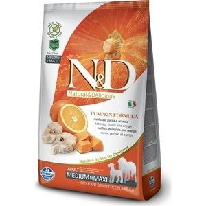 Сухой корм Farmina N&D Dog Medium&Maxi GF Pumpkin Codfish & Orange беззерновой с треской апельсином тыквой для собак средних и крупных пород 12кг
